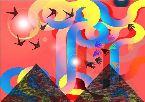 Mountain Abstract abstract mountain art.Mountain Print. by artfuns