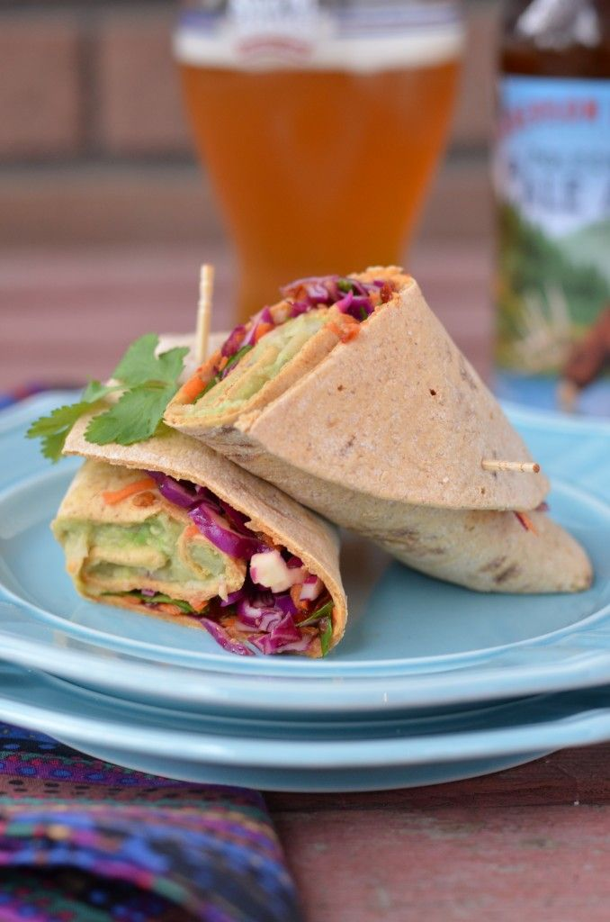 spicy avocado and white bean wraps