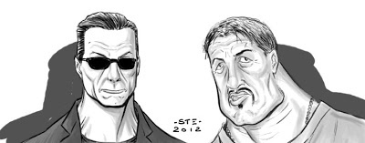 "Vilain & Barney Ross (Jean-Claude Van Damme & Sylvester Stallone) from ""Expendables 2"""
