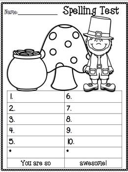 Spelling Test FREEBIE~ March Edition!  :o)  9 Themed Spelling Test Templates~ Enjoy! :o)