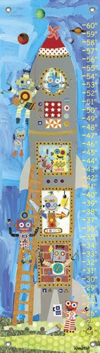 growth chart: Wall Art, Daisies Rocket, Kids Growth Charts, Robots Growth, Oopsies Daisies, Rocket Robots, Baby Room, Kids Robots, Mendi Winborg