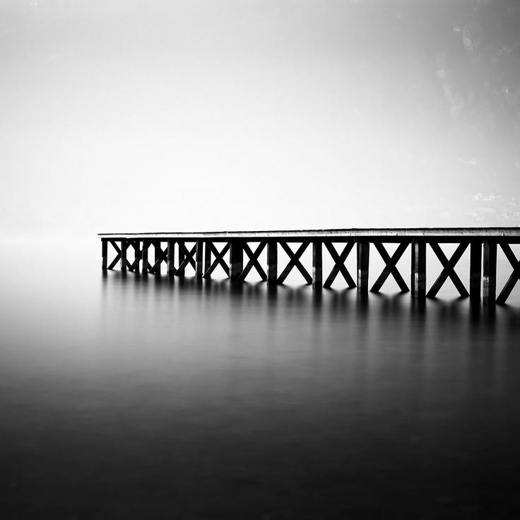Aix les Bains -Photograph Wooden Pier, Lake Bourget, Aix-les-Bains, France by Olivier