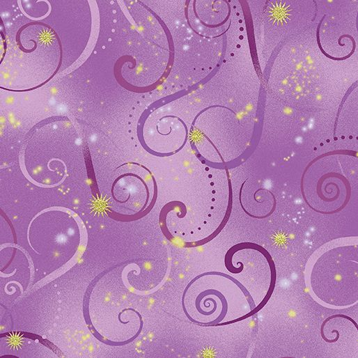 8500M-06 Swirling Sky Violet Exquisite printing, beautiful colours and design, lovely theme - Dance of the Dragonfly has all the makings of a fabric classic. The printing is truly extraordinary with very fine gold accents - so difficult to achieve! Dragonflies flit among the waterlilies, or fly in a night sky filled with stars. in two luscious coloorways: blue/green and gold/purple. Truly beautiful. 100 % cotton, Juberry Fabrics supply in long quarters of a metre but for lo...