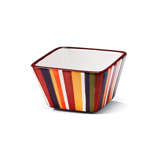 """Striped Small Bowl  Bold, hand-painted stripes, the perfect size for soups, salads, snacks and ice cream. 4½"""", 1½ cups.     High-quality ceramic.  Hand-painted colors.  Chip-resistant.  Dishwasher-, freezer- and microwave-safe  pamperedchef.biz/pagek1"""