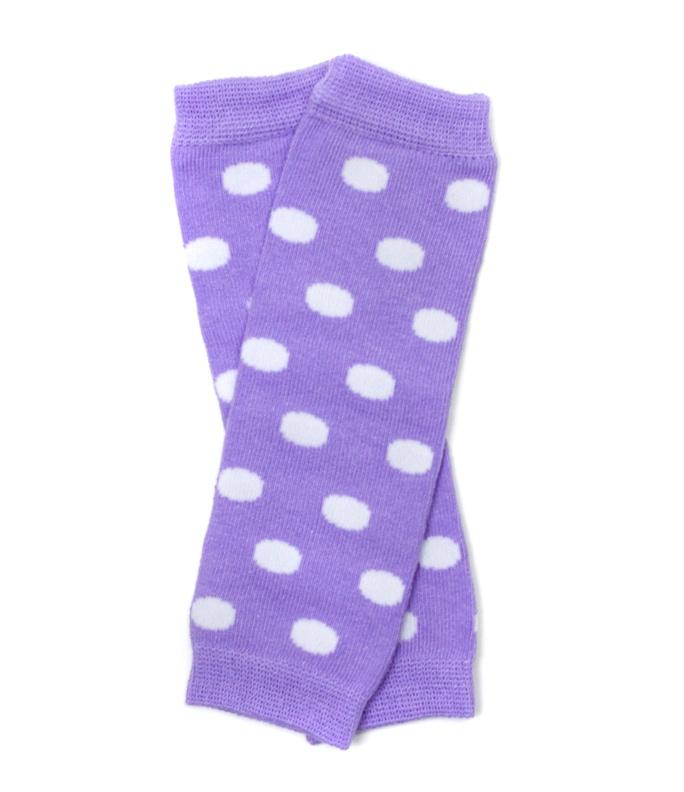 Lavender Polka Dot Newborn Baby Leg Warmers