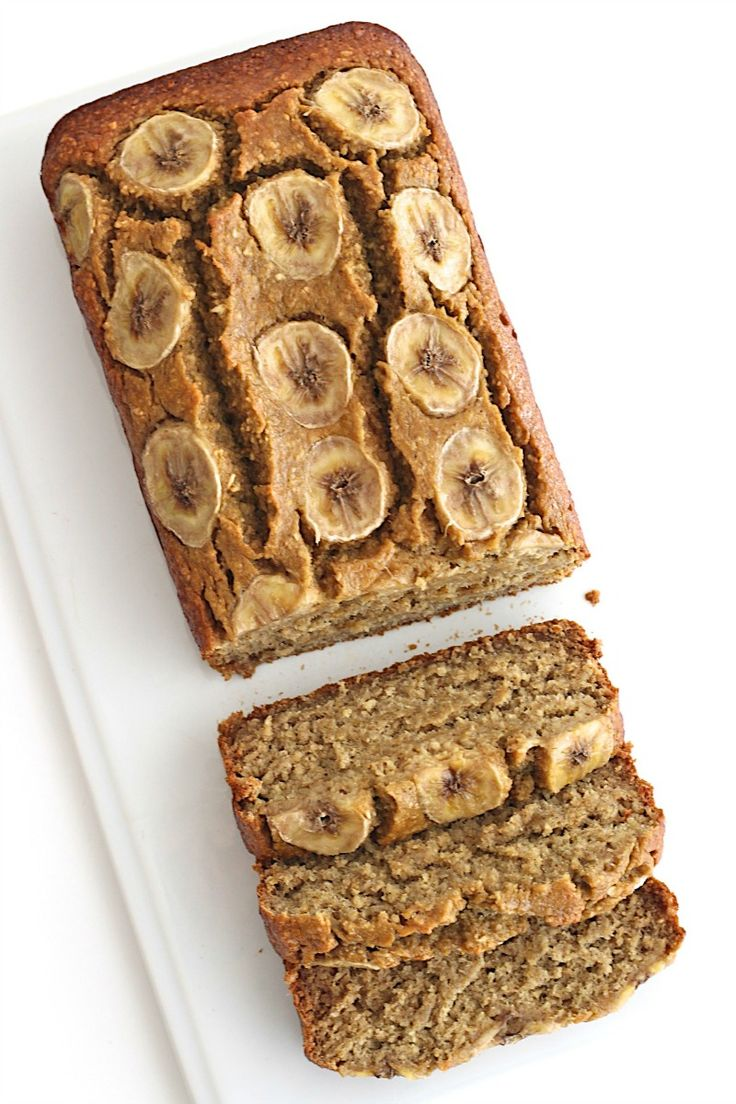 Healthy 5-Ingredient Flourless Banana Bread Use sugar substitute for syrup  76 cal each for 10 slices