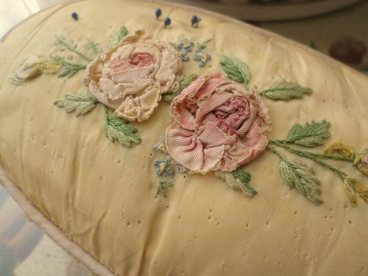Antique Sewing Pincushion Yellow With Pink Ribbon Work Roses Chic