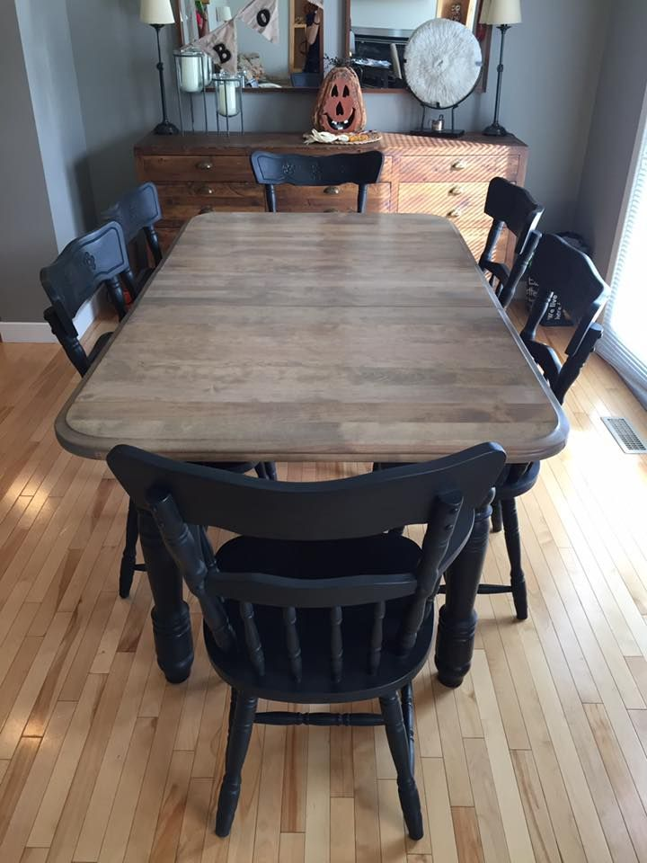 Refinished Dining Set Minwax Weathered Oak And Annie Sloan Graphite With Black Wax Annie Sloan Graphite Dining Dining Set