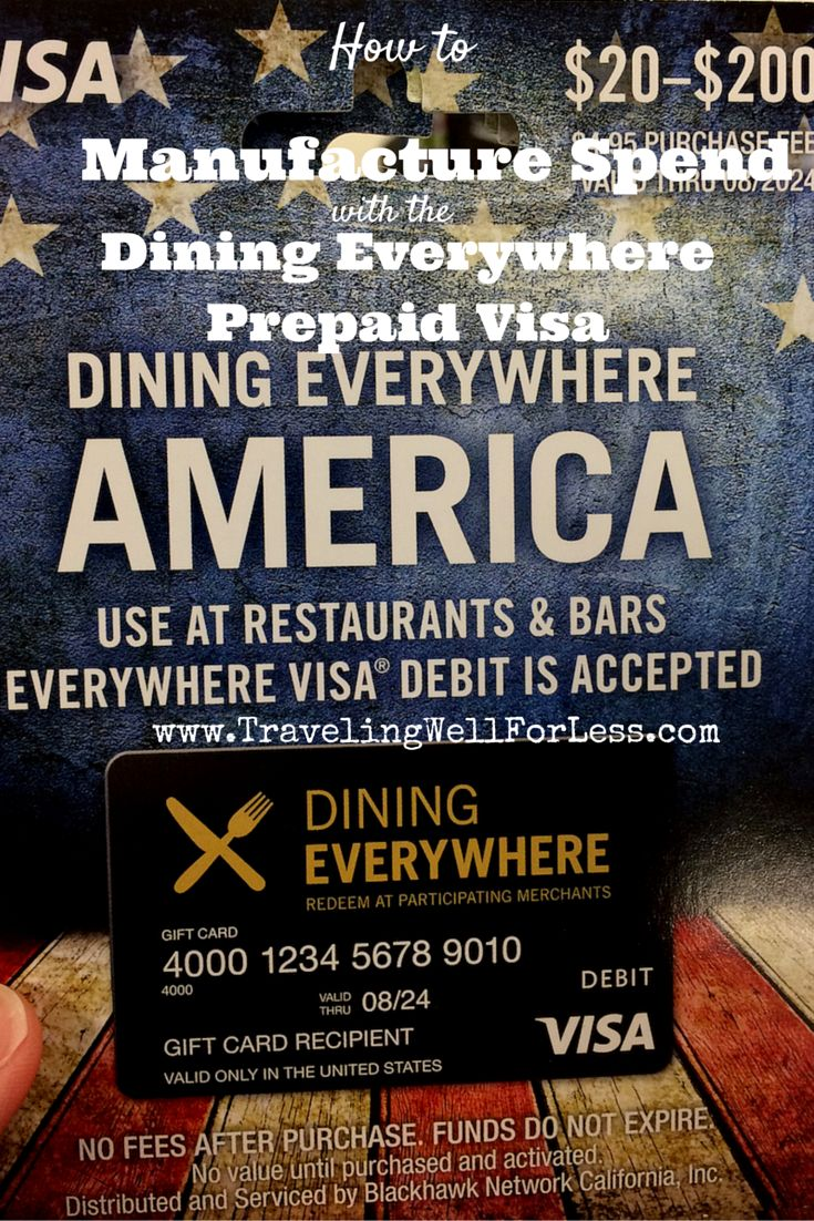 How to get 5X points or 5% cash back with the Dining Everywhere Prepaid Visa Card. A new way to earn lots of miles and points through manufactured spending. Click the pin to read this post at http://www.travelingwellforless.com