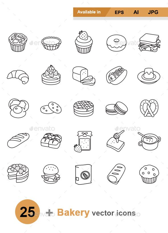 Bakery outlines vector icons - Man-made objects Objects