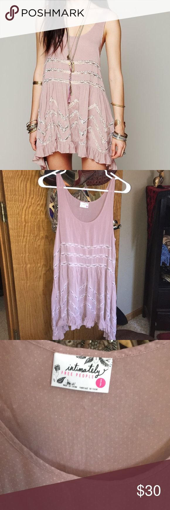 Free people voile and lace trapeze slip dress Dusty pink dress, one tiny flaw in fabric. Virtually impossible to see. Excellent condition. Free People Dresses Mini