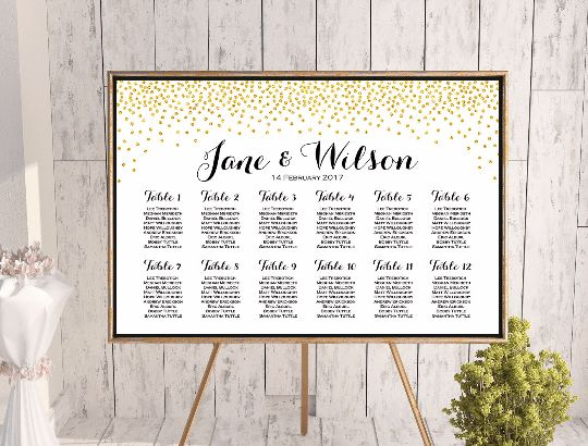 gold glitter Find your Seat Chart Printable Wedding Seating