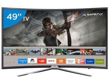 """Smart TV LED Curva 49"""" Samsung Full HD 49K6500 - Conversor Digital 3 HDMI 2 USB Wi-Fi"""