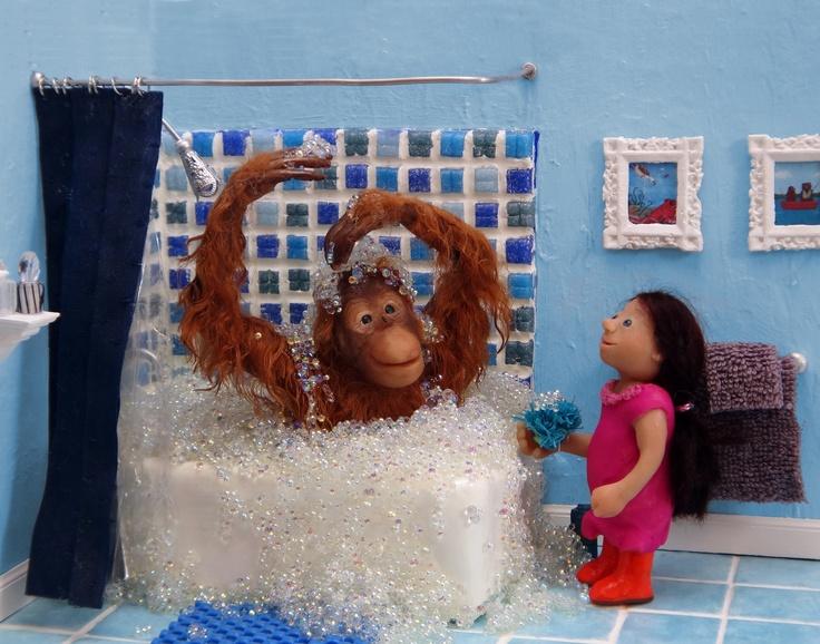 """www.carolinegrayillustration.com  """"Henry takes a Bath"""", 2011  polymer clay, wool, mosaic tiles"""