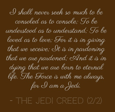 The Jedi Creed (2/2) of the Temple of the Jedi Order. - in book