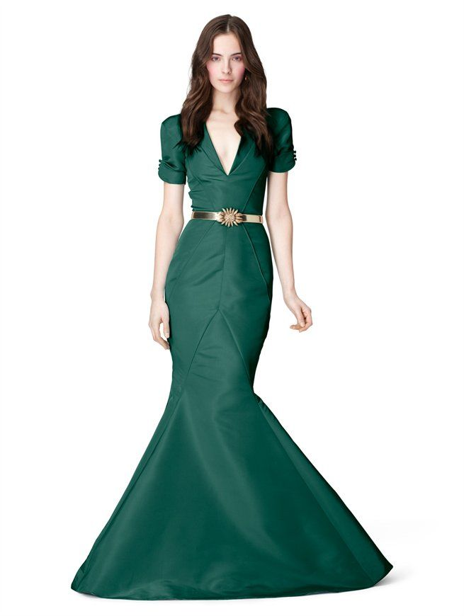 ROLLED SHORT SLEEVE V-NECK SLIM FISHTAIL GOWN - Oscar de la Renta New Arrivals - The Latest Fashions by Oscar De La Renta - Oscar de la Renta