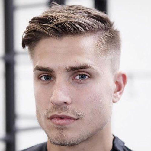 Side Swept Hair with Mid Fade