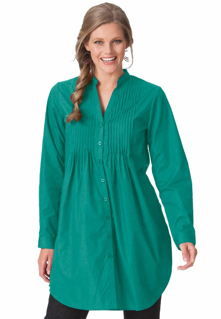 """(Plus Size Top in 32"""" tunic length with pintuck details 