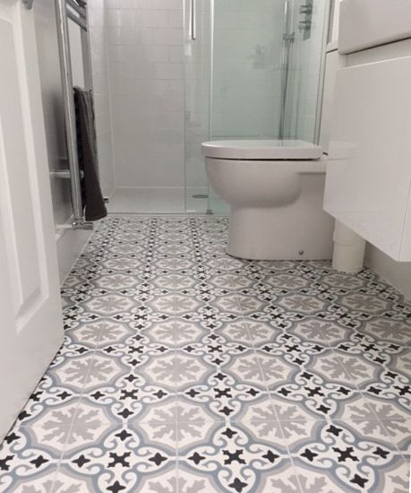 Havana Blue Grey Encaustic Cement Tile Bathroom Floor