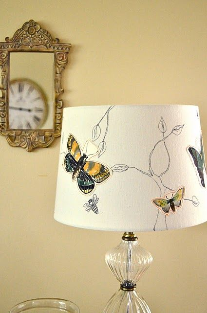 a possible DIY: lamp shade with drawn branches + decoupaged butterflies