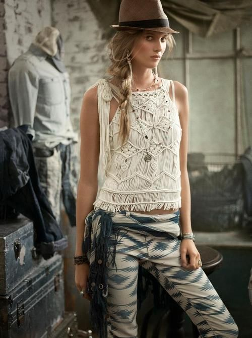 Would love to see the pattern on this top, incredible creativity!  Crochet top, ikat skinnies & trilby. Boho cool.