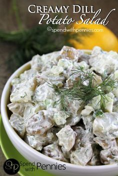 Creamy Dill Potato Salad!  The perfect side!  Made by SpendWithPennies.com #dill #side #potatosalad