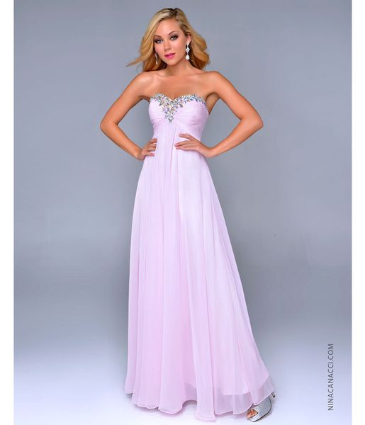 Nina Canacci 2014 Prom Dresses - Baby Pink Chiffon & Beaded Strapless Prom Gown - DRESSES on InStores
