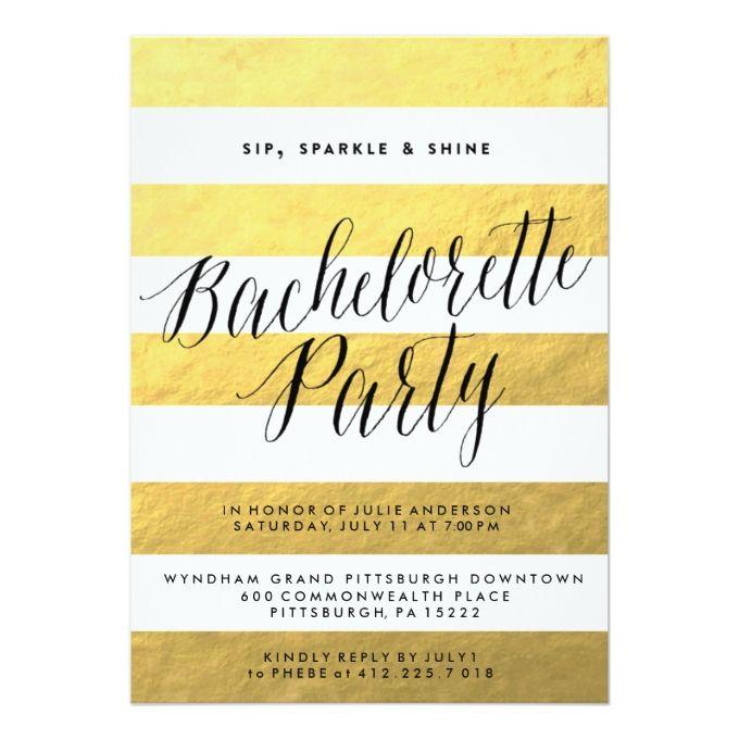 SIP SPARKLE SHINE BACHELORETTE PARTY Invitation