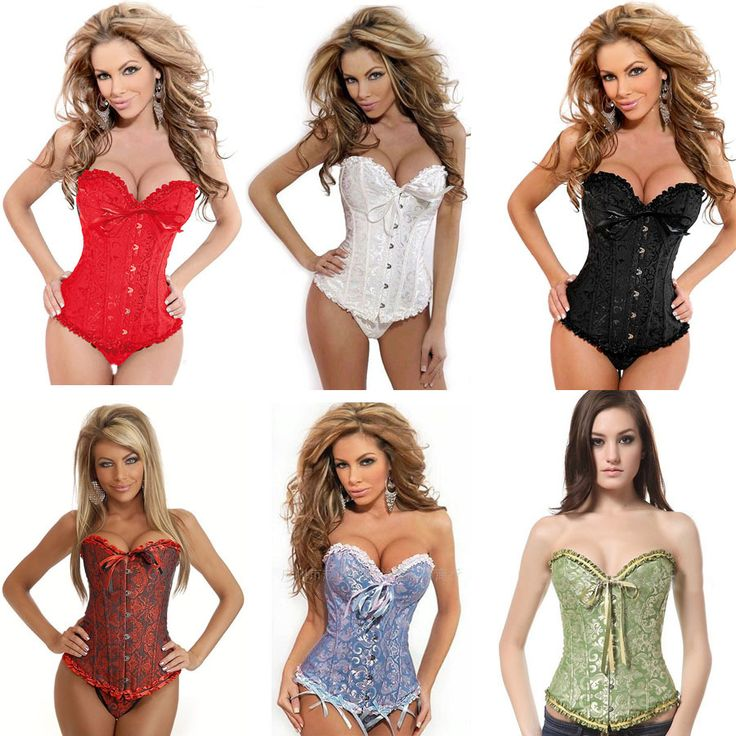 Hot Plus Size 6 Colors Corpetto Sexy Corsetto Pizzo Women Satin Lace Up Sexy Corset and Bustiers S-6XL