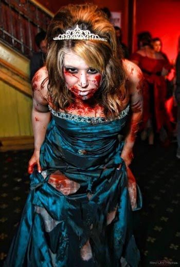 Halloween Makeup: makeup and costume ideas, like how the dress is all bloodied and torn.