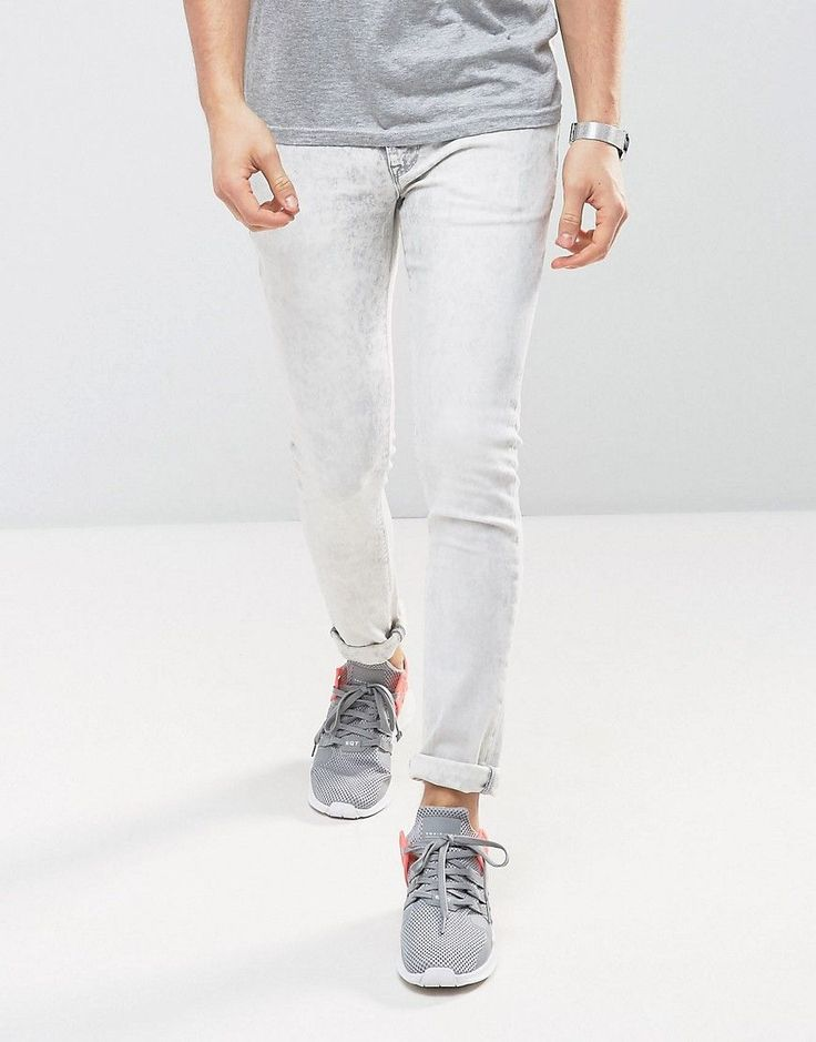 ASOS Super Skinny Jeans In Light Gray Acid Wash - Gray