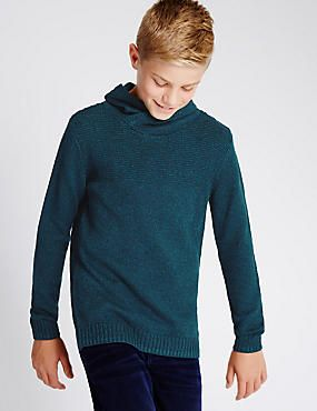 Teal Textured Jumper (5-14 Years)