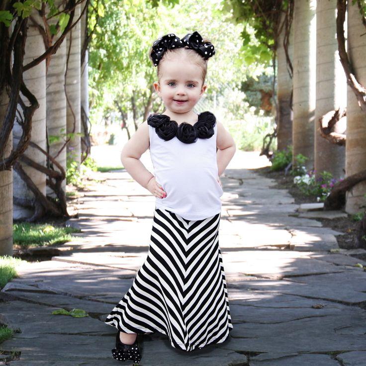 Girl's Black and White Chevron Maxi Skirt - 1434 Best Kids Stuff And Fashion World Images On Pinterest Kids