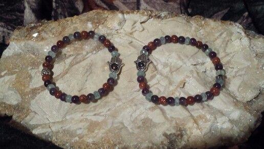 Gold Stone, Amethyst & Aquamarine