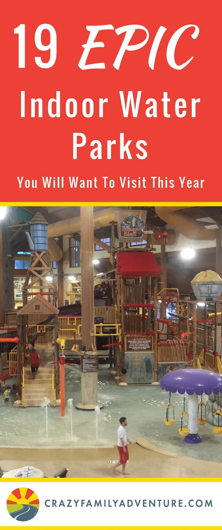 Indoor Water Park fun!! Your family will have a blast at any of these 19 epic indoor water parks. Thrilling slides, wave pools, & water play structures equal tons of #indoor #fun. #family  #travel #bucketlist #vacation #waterpark