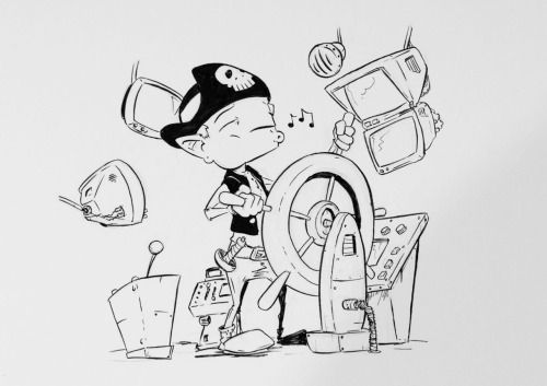 #inktober2016 Day 2: Our space pirate drive his ship while whistling a noisy music