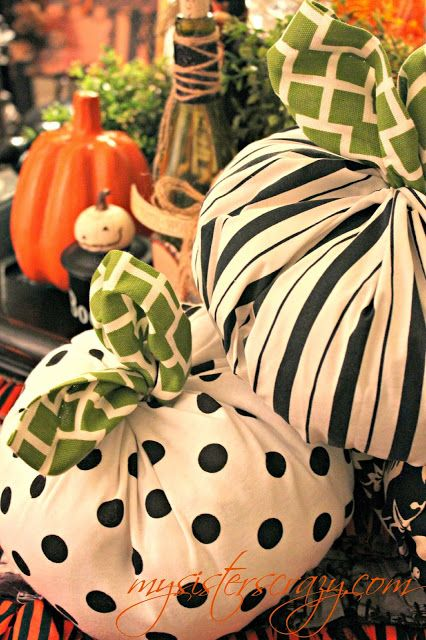 My Sister's Crazy!: FABRIC PUMPKINS...NO SEW! | Projects ...