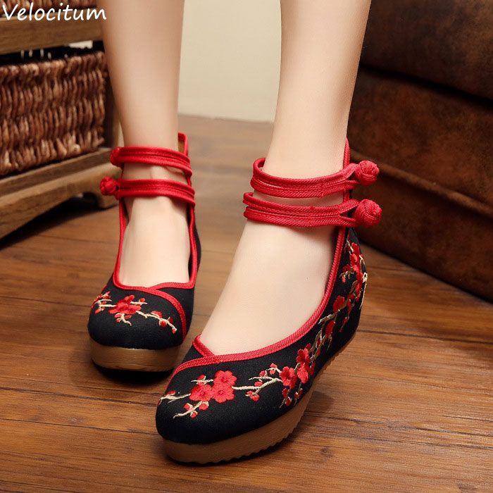 Women 5cm Medium Heel Old Peking Cloth Cotton Shoes Ladies Wedges Wintersweet Embroidered Female Pumps Platforms Double Straps-in Women's Pumps from Shoes on Aliexpress.com | Alibaba Group