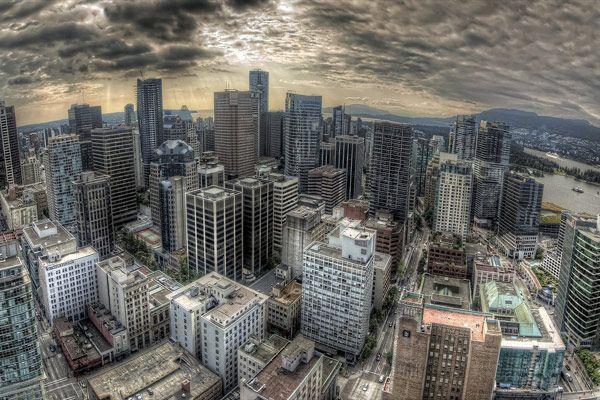 O céu acima de Vancouver, no Canadá
