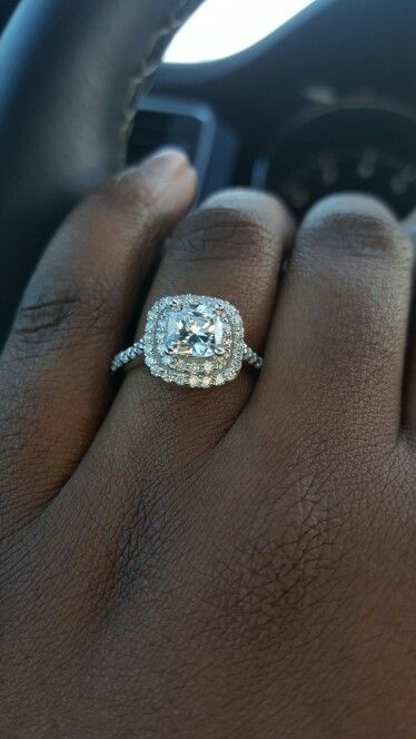 One Carat Center Stone Double Halo Cushion Cut Engagement Ring