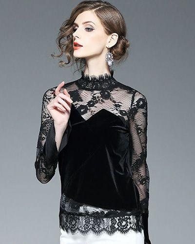 Bluza din catifea si dantela de ocazie neagra