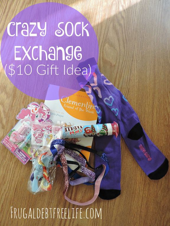Crazy sock exchange ($10 Gift Idea) This idea is so cute. This post has so many great ideas on what to stuff in socks for a crazy sock exchange. Great for kids and friends.