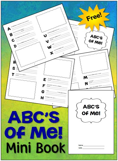 ABC's of Me freebie from Laura Candler's Teaching Resources - Create this mini book from just 2 sheets of paper!