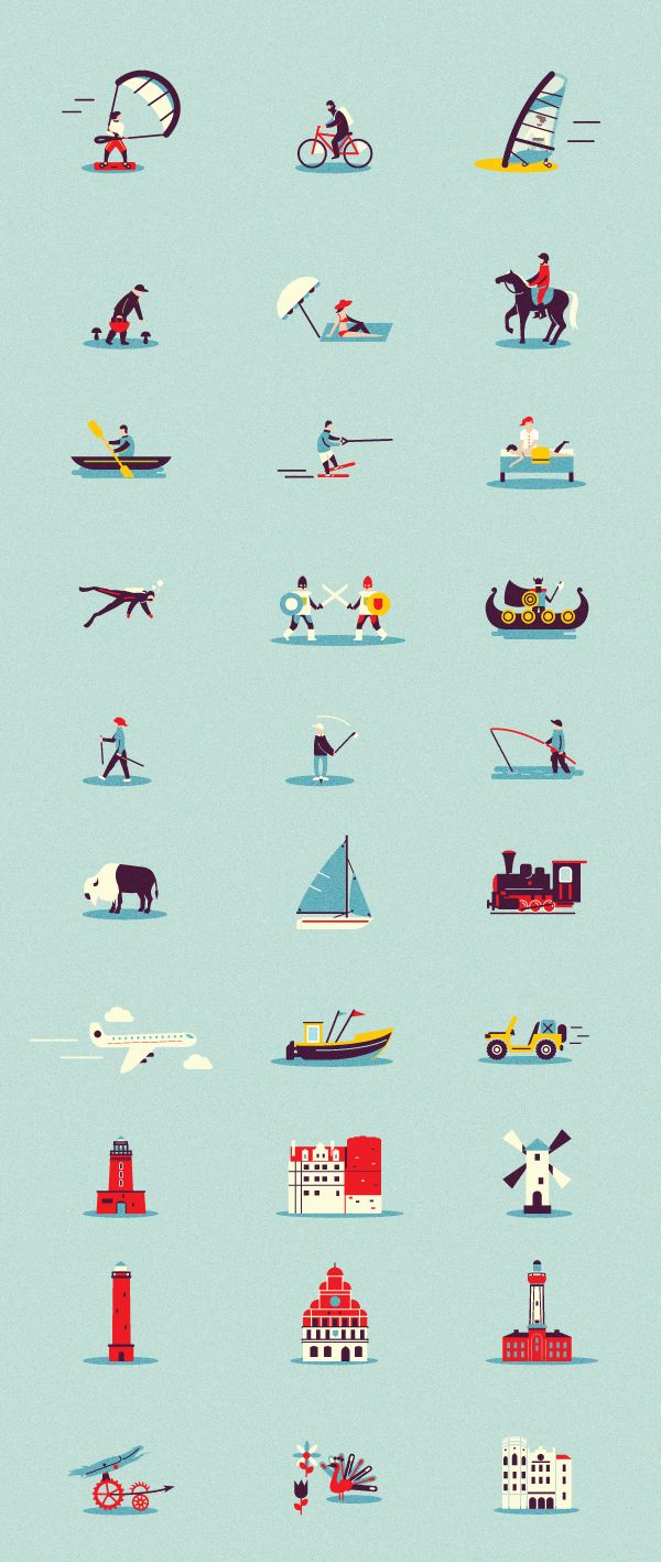 Amazing illustrated icons | https://www.behance.net/gallery/16703031/Pomorze-Zachodnie #icons