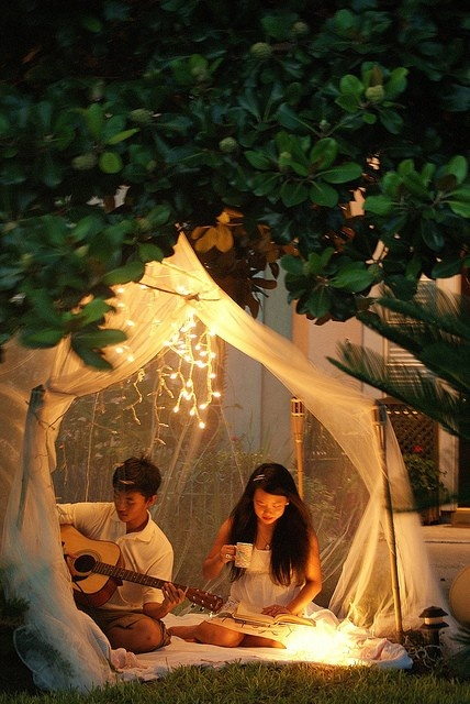 light and tent........ I'm thinking, make a huge tent like this for a late-night summer Bible study!!!