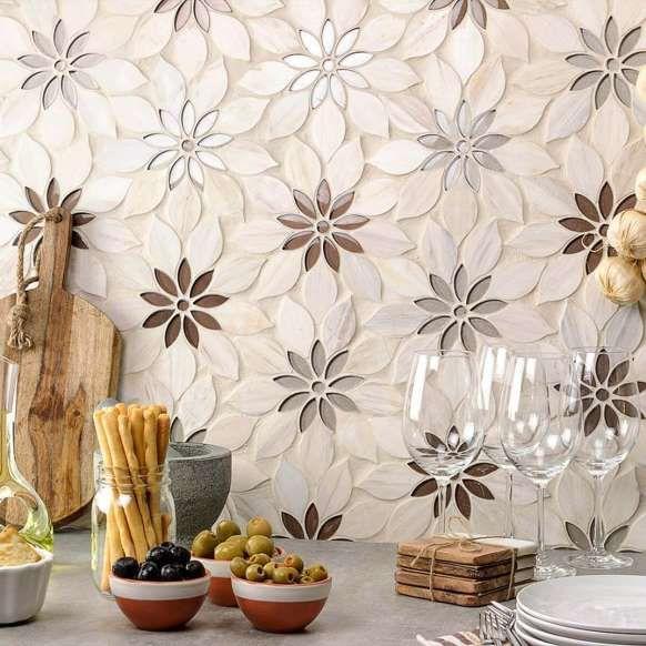 Black Gold Glass Metal Flower Kitchen Backsplash Bathroom Wall Tiles Mosaic Art Tstmosaictiles Modern Metal Mosaic Tiles Glass Mosaic Tiles Room Wall Tiles