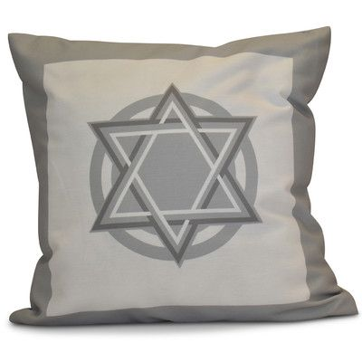 "The Holiday Aisle Hanukkah 2016 Decorative Holiday Geometric Outdoor Throw Pillow Size: 20"" H x 20"" W x 2"" D, Color: Gray"