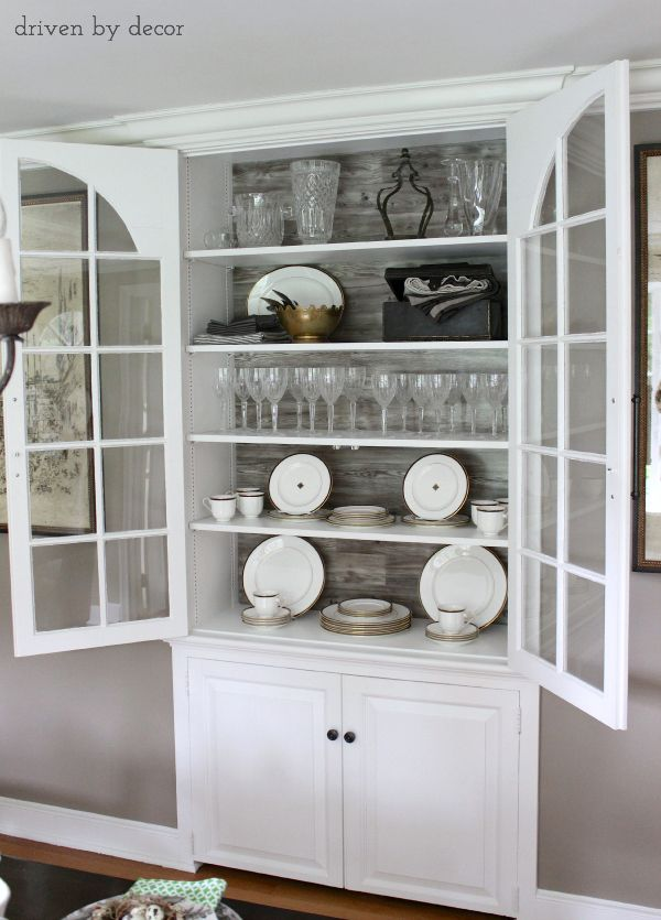 Built-in china cabinet lined with Pergo in back