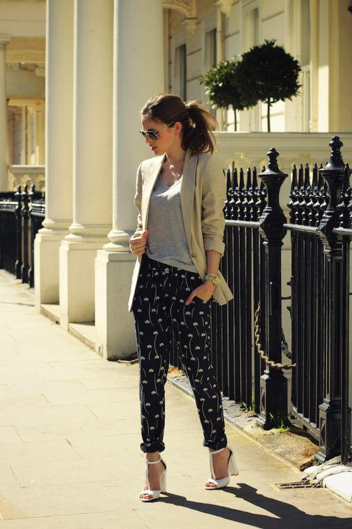 Gimme! Gimme! Loose fitted patterned pants tapered at the ankles - let's do it!
