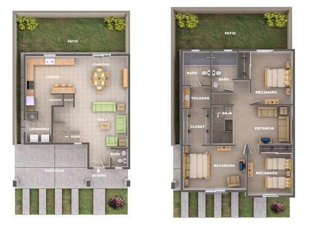 planos de casas de dos pisos con terraza
